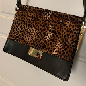 Leopard and black leather Vince Camuto purse
